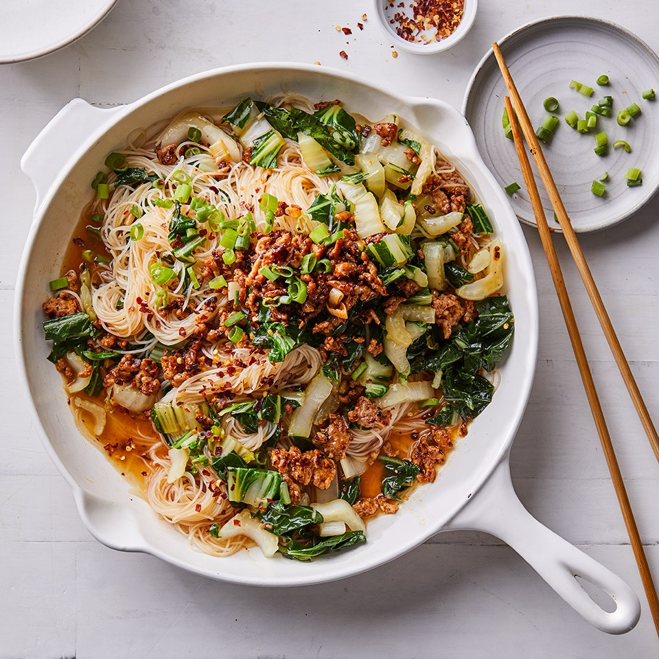 Spicy Noodles with Pork, Scallions & Bok Choy