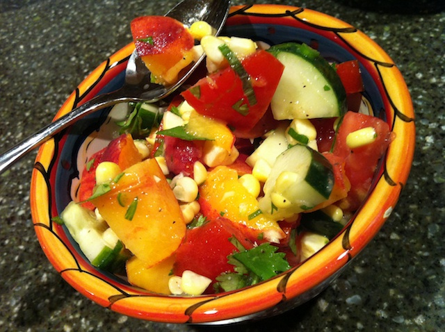 Cucumber, Tomato, Peach and Corn Salad