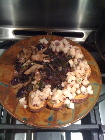 Sweet Potatoes Topped with Pecans, Goat Cheese and Japanese Turnips