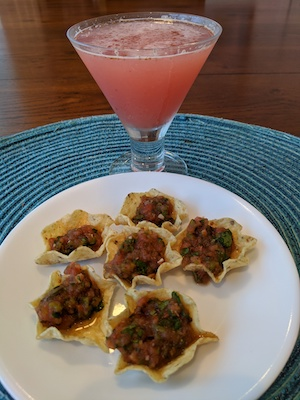 Fresh Fig Margaritas and Tomato-Poblano Salsa