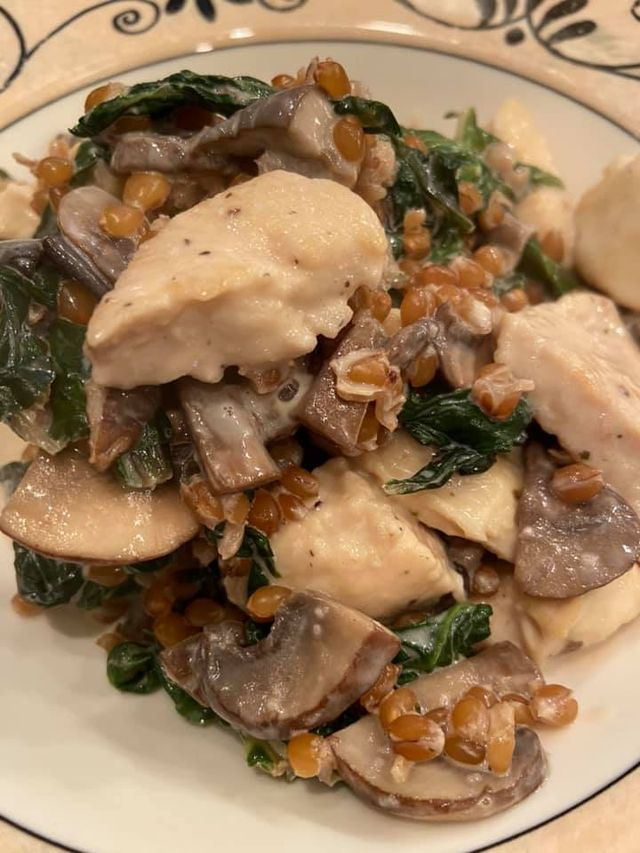 Chicken, Mushroom and Swiss Chard Bowl with Wheat Berries