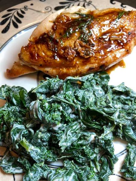 Pan Seared Crispy Chicken with Easy Creamed Kale