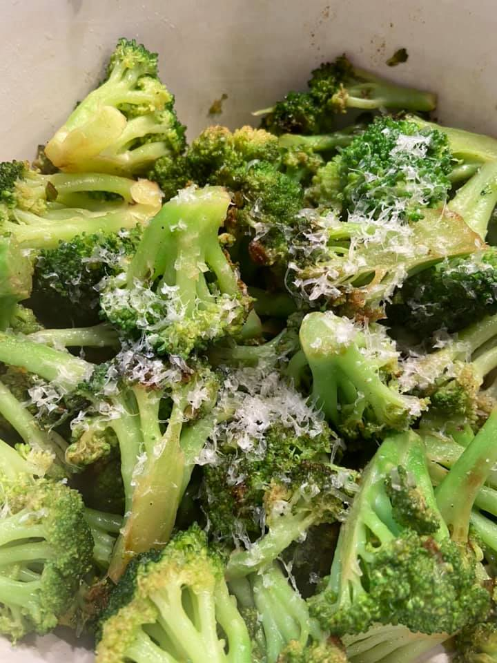 Pan Roasted Broccoli with Garlic Scape Lemon Browned Butter.